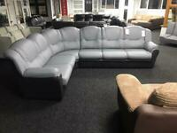 Corner sofa faux leather grey with black