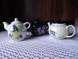 Three ornamental teapots no chips in good condition