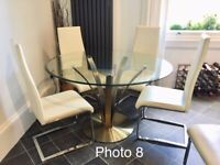 Large glass round table and 6 chairs