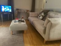 Grey Sofa 3 piece DFS with stool imaculate condition