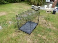"Large dog cage. Size 24"" x362 x 27"" when open. Lies 4"" when collapsed."