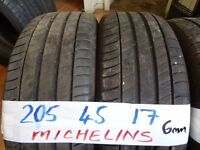 matching set of 205 45 17 michelins all 6mm tread £70 pair can fit foc opn 7 days 5pm