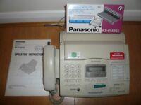 Panasonic KX-F1830 phone & plain paper fax + unused double box Panasonic KX-FA136X replacement film