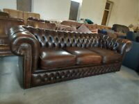Chesterfield Lovely Brown 3 seater Sofa settee Deliv Poss