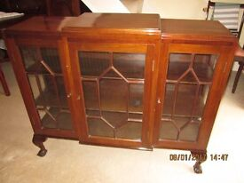 ANTIQUE MAHOGANY GLASS CABINET FOR BOOKS OR CHINA