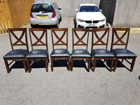 6 BRAND NEW Cross Back Solid Wood & Leather Chairs FREE DELIVERY 460