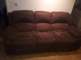DFS Brown Suede Recliner Sofa and Armchair