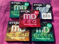 5 original sealed new 'colour' TDK minidiscs (80 mins). Assorted colours.
