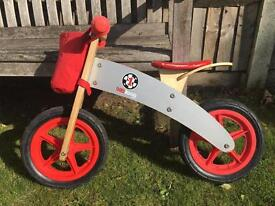 Balance bike - wooden - red/grey - good condition
