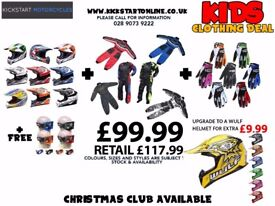 KIDS GEAR DEAL -HELMET -WULF CUB RACE SUIT-WULF GLOVES -GET FREE GOGGLES £99.99 ALL COLOURS