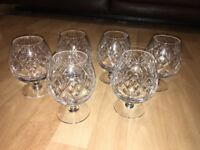 Set of 6 Vintage Cut Glass Brandy Glasses