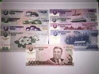 Full Set of Nine North Korean Won Banknotes