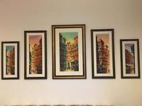 Set of 5 framed oil paintings (original)