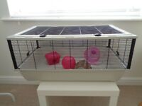 Wire hamster cage with ball, bridge, plastic house, food dish and wheel