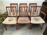 Set of 6 team Gplan dining chairs