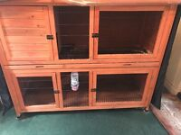 Rabbit Cage, double floor, With all neccessary items to start including some hay, food and saw dust