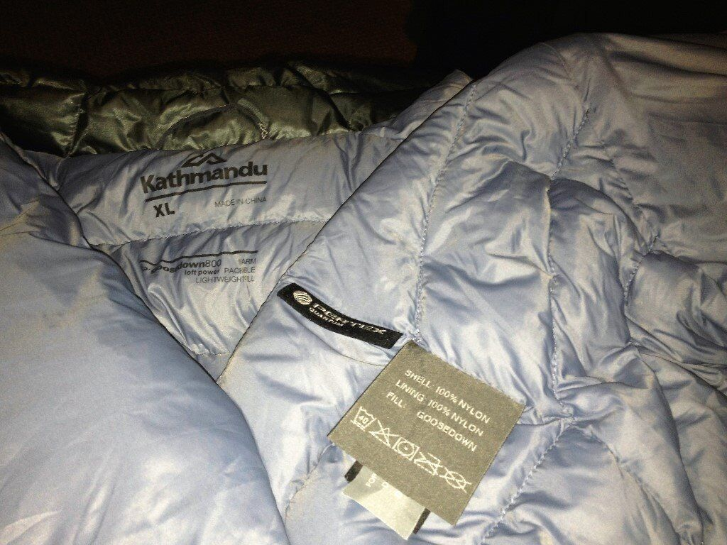 Down jacket Kathmandu Ultralite 750 fill down sz xlin Willesden, LondonGumtree - Kathmandu Ultralight 750 fill down jacket New with tags ! Internal phone pocket and two hand warmer pockets Stuff sack Lower hem cinch cords Long warm back can be adjusted up . Exceptionally light and soft Very warm in a matter of seconds once put on...