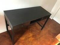 Black Wooden Study Table With Draws - £15