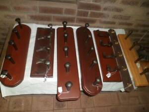 Old railway spikes coat hangers , solid worked jarrah timber