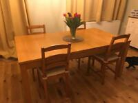 Dining table fully extendable solid wood