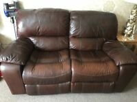 2 X BROWN LEATHER RECLINING SOFAS