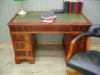 Stunning Green Leather Inlay Desk and Chesterfield Captains Chair