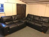 ⭐️ Harvey's dark brown large luxury leather ~ 3 & 2 ~ sofas suite
