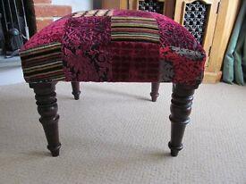 Jali Indian Footstool Pink & Red Velvet