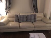 Pearl leather sofa and armchair