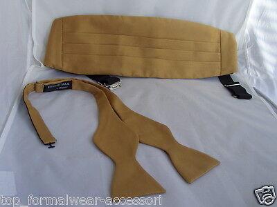 Polyester GOLD Self-tie Bow Tie & Cummerbund Set + Instruction P&P 2UK>1st Class Gold Cummerbund-set