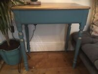 Antique Pine Table Side table Turquoise Teal and Gold Painted Gorgeous
