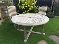 garden furniture - hardwood table & 6 folding chairs