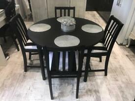 Black & white dining table & 4 Chairs