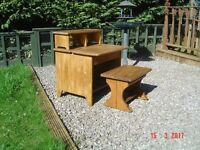 Childs Desk with Lift up Lid and Matching Bench Seat. Real Wood Finished in an Oak Stain.Can Deliver