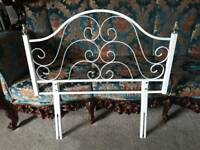 Single bed metal framed headboard. Shabby chic, bedroom furniture.