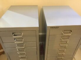 2 silver filing cabinets 10 drawers