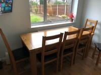Real OAK wood dining table and chairs