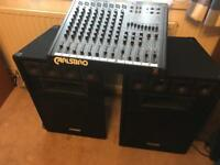 Carlsbro mixer amp and Speakers PA system powered mixer