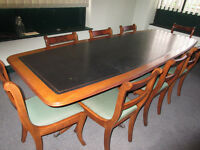 BEAUTIFUL BOARDROOM TABLE WITH LEATHER TOP, TWIN PEDESTALS WITH CLAW FEET + 8 ROLL-TOP CHAIRS