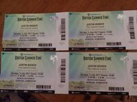 Justin Beiber tickets x4 - Hyde Park, London - 2nd July 2017