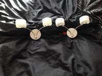 Pair of 2 Chrome Silver & Glass Oval Wall Lights