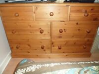 Solid Heavy Large Pine Chest Of Drawers