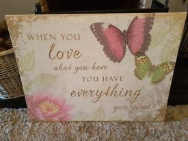 Canvas print with words