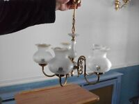 SHINY BRASS AND GLASS 5 BRANCH CHANDELIER IN SPOTLESS CONDITION