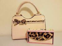Womans Pink & Leopardprint Bag & Purse Set