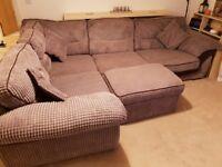 Corner Sofa with Storage Pouffe