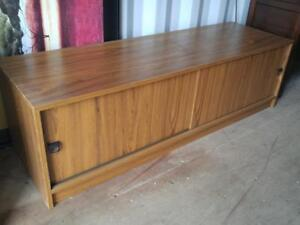 "Oakville MID-CENTURY CREDENZA 64""x20""x19""h Solid Wood with Veneer Buffet Storage Cabinet Long Vintage Retro Brown"