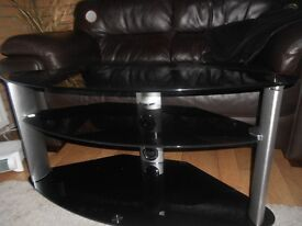 **REDUCED**-TV Unit-Black Glass & Brushed Chrome Legs **Good Condition**