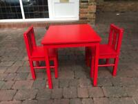 Children wooden table and x2 chairs