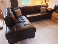 Leather chaise sofa / couch